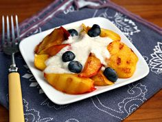 grilled fruit with cardamom yogurt vegetarian, gluten-free ThePerfectPantry.com