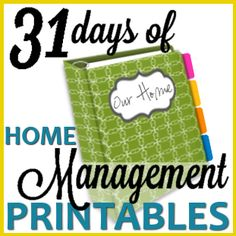 31 Days of FREE Home Management Binder Printables  starting Oct. 1st. Great way to build a home binder a little bit at a time through the month.