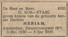 Bron: Nieuw Israelitisch weekblad 9-5-1930
