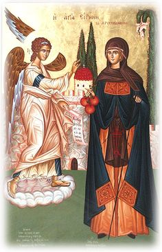 Verses Of old you lived peacefully Irene, And now you dwell where peace abounds. On the twenty-eighth Irene entered divine rest. Greek Icons, Byzantine Icons, Orthodox Christianity, Angels And Demons, Orthodox Icons, Saints, Painting, Fictional Characters, Flora