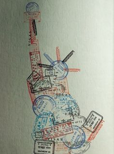 Statue of Liberty made out of several little postage, postoid, visa and passport rubber stamp images. Great image for Postcard or Envelope Front.  #mailart #snailmail #happymail #funmail #AlteredEnvelope #EnvelopeDesign #RubberStamping