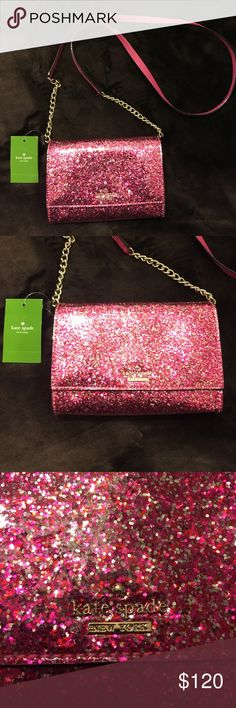 Kate Spade pink Glitter Bug Cami Crossbody bag Fun sparkly bag. New with tags, never worn. Fun accessory to add to any outfit kate spade Bags