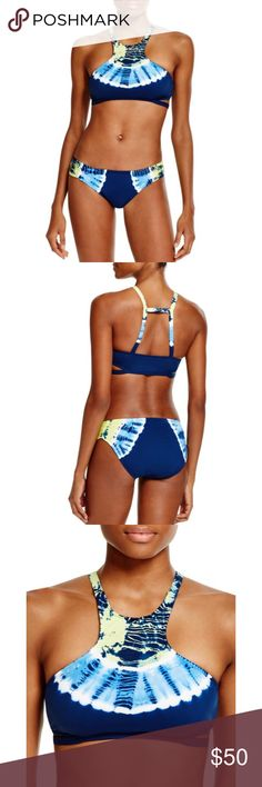 Lucky Brand half moon high neck tie dye bikini NWT! Ladder back. Cut out side detail and bikini bottom. Lucky Brand Swim Bikinis