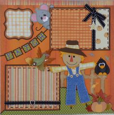 Pumpkin Patch Fall Scarecrow Boy or Girl Premade Scrapbook Page Layout 12x12