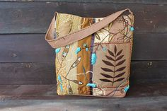 Cocoa and turquoise. Bag summer / beach textile with embroidery