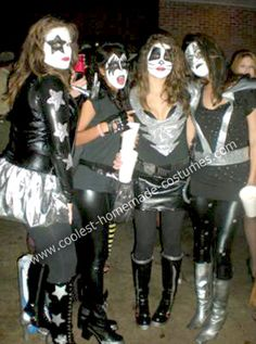 Homemade KISS Group Costume: Everything on this Homemade KISS Group Costume was made from scratch besides the leggings and two tee-shirts.  Paul – the vest was made from faux-leather