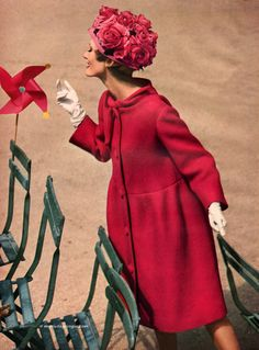 Pinwheels, roses, and a classic raspberry coat?  I'm there, you sweet midcentury confection you.