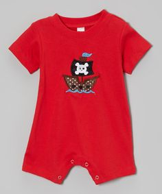 Look at this Petunia Petals Red Polka Dot Pirate Ship Romper - Infant on #zulily today!