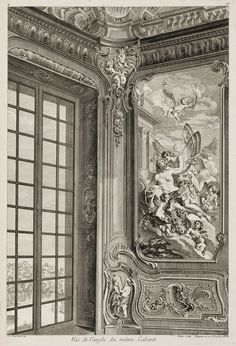 Corner of the study with Zephyr and Flora in the Bieliński Palace in Warsaw by Pierre Chenu after Juste Aurèle Meissonnier, ca. 1742-1748 (PD-art/old), Cooper Hewitt, Smithsonian Design Museum, Meissonnier created the interior with painted panels representing Zephyr and Flora and Venus and Adonis, pier-glasses and a painted ceiling decorated with the chariot of the Sun, Muses and groups of emblematic of the Arts and Sciences in 1734 for Franciszek Bieliński