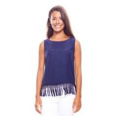 Navy Shelly Tank with Tassels