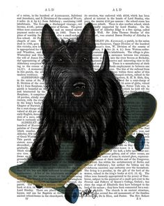Scottish Terrier Scottie Dog Skateboard Art Print Acrylic Painting Giclee Mixed Media Animal Painting Wall Decor Wall hanging Wall Art