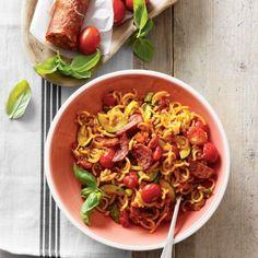 Spaghettini, chorizo en tomaatjes in de wok, als dat geen mooie Italiaanse maaltijd wordt! #pasta #Italiaans #JumboSupermarkten