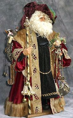 One-of-a-kind Santa - Victorian in a rich, burgundy robe trimmed with mink