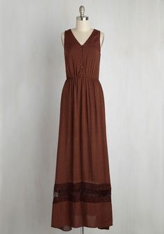 """The Prairie Thought of You Dress. On your journey out west, put the """"great"""" in the Great Plains with this rich brown maxi! #brown #modcloth"""
