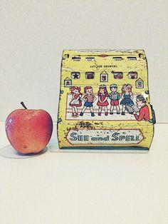 Nursery Decor,Tin Toy,See and Spell ,by beachbabyblues on Etsy, $22.00