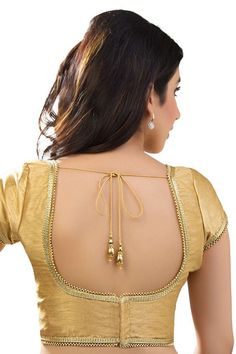 #Gold raw #silk designer wear glamorous #blouse with u neck & cap sleeves -BL747