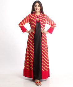 - Jacket Designs - Black A-Line Floor Length Kurti with Leheriya Cape anokherang Jacket Style Kurti, Kurti With Jacket, Dress With Jacket, Pakistani Dresses, Indian Dresses, Indian Outfits, Kurti Styles, Blouse Styles, Kurti Patterns