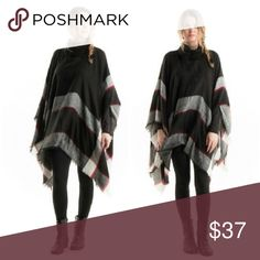 Black Turtle Neck Poncho Plaid poncho! Perfect for fall and winter! This is a one size fits most fit! S-2X 100% acrylic Sweaters Shrugs & Ponchos