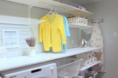 Laundry room done with Ikea Algot system Ikea Laundry Room, Laundry Room Shelves, Laundry Closet, Ikea Algot, Landry Room, Woman Cave, Lady Cave, Laundry Cabinets, Kitchen Cabinets
