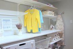Laundry room done with Ikea Algot system Ikea Mud Room, Ikea Laundry Room, Laundry Room Shelves, Laundry Closet, Ikea Algot, Ikea Wardrobe Hack, Homemade Closet, Landry Room, Ikea Closet Organizer