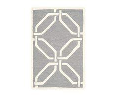 Alfombra de lana artesanal Mollie, gris y marfil - 91x152 cm