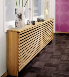 to style up your Central Heating Wooden Radiator Covers with Decorative Trends - shallow cabinets over floorboard radiators in bedroom?Wooden Radiator Covers with Decorative Trends - shallow cabinets over floorboard radiators in bedroom? Modern Radiator Cover, Home Radiators, Central Heating Radiators, Famous Interior Designers, Designer Radiator, Small Hallways, Hallway Decorating, Diy Home Decor, House Design