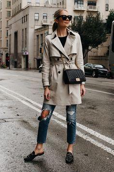 Fashion Jackson Club Monaco Trench Coat Levis Ripped Jeans Gucci Black Princetown Mules Chanel Black Boy Bag Chevron