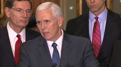 "Speaking to reporters outside the Capitol, Vice President Mike Pence said the American Health Care Act will give Americans more freedom of choice and ""if you like your Obamacare, you can keep it."""