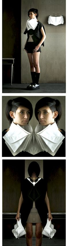 Origami Fashion - 3D collars made with a process of folding, unfolding and mirroring of fabric structures to explore the idea of mirror reflections, distortions & magnification // Jasmine Corona