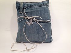 Denim Ring Bearer Pillow with Pocket-Wedding-Metal Butterfly Embellishment Blue Jean Wedding, Jeans Wedding, Barn Wood Projects, Ring Bearer Pillows, Ring Pillow Wedding, Blue Pillows, Butterfly, Wedding Rings, Trending Outfits