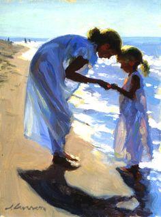 "Jeffrey T. Larson (1962-) - Beach Treasures Oil on canvas1999 40.64 x 30.48 cm (16"" x 12"")"