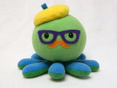 Hipster octopus plush toy with mustache and glasses via Etsy