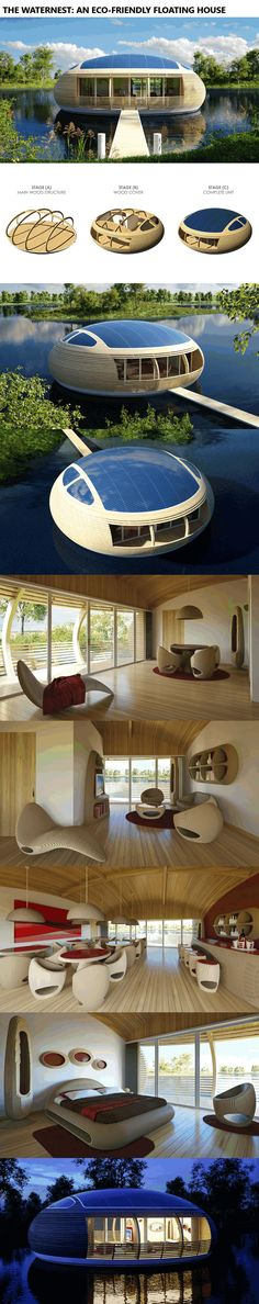 The WaterNest: An Eco-Friendly Floating House www.alternative-e… cool The WaterNest: An Eco-Friendly Floating House www.alternative-e. Read More by jakobkovesen. Futuristic Architecture, Amazing Architecture, Interior Architecture, Interior And Exterior, Interior Modern, Floating House, Floating Boat, Eco Friendly House, Future House