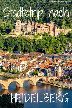 Man muss nicht immer weit weg fahren, um in den Genuss einzigartiger Städte zu kommen. Begleitet mich heute auf meiner Reise ins wunderschöne Heidelberg, einer der schönsten Städte Deutschlands! Ich zeige euch, was ihr in der lebendigen Studentenstadt erlebt haben müsst und warum ein Städtetrip nach Heidelberg ein echtes Highlight ist! Europe Destinations, Cities In Germany, Most Beautiful Cities, Travel List, Travel Abroad, Places To See, In The Heights, City Photo, Dolores Park