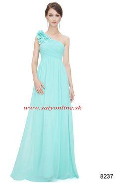 Tyrkysové šaty na jedno rameno 8237 Oblečenie Na Párty 37b8cd16191
