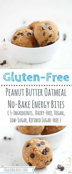 No Bake Energy Bites made with protein packed peanut butter and fuel burning oat flour. With just 5-Ingredients! { Gluten-Free, Dairy-Free, Vegan, Low-Sugar, Refined Sugar-Free } #sponsored