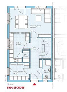 Grundriss-EG, Fertighaus Doppelhaus 35-124, 63,31 m²