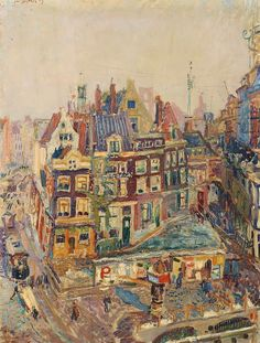 cinque-del-mattino:  Jan Sluijters (Dutch, 1881-1957), The Old Beurspoortje and surrounding houses at Rokin, Amsterdam, 1909.