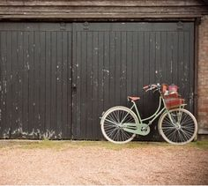 tan leather & pastel green bicycle