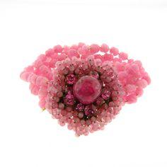 "Miriam Haskell Pink Glass Beaded Multi Strand Bracelet 1.25x8.5"" | Jewelry & Watches, Vintage & Antique Jewelry, Costume | eBay!"