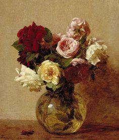 Roses Painting by Ignace Henri Jean Fantin-Latour