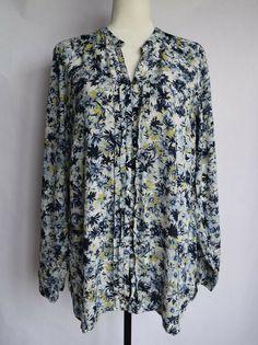 942c4a7ccd047 NWT J. Jill Floral Blouse Shirt Blue White Long Sleeves Size M  JJill