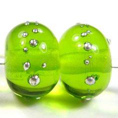 BeadsClubArt Fall Beads Green Glass Fancy Beads Green with Golden lines  Beads Green Lampwork Beads 10 Green Beautiful Lampwork Beads