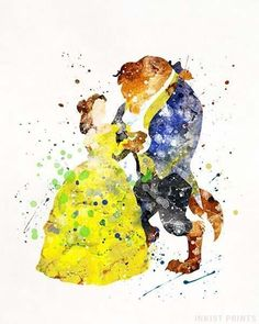 Beauty and the Beast Belle Watercolor Art Disney Art Poster Nursery Posters Gift Idea Home Decor Wall Art Type 2 Gift For Couple Disney Pixar, Deco Disney, Disney Love, Disney Villains, Disney Kunst, Arte Disney, Disney Art, Disney Magic, Watercolor Disney