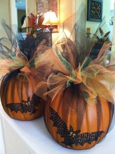 Halloween Decor - Halloween Centerpiece - Faux Craft Pumpkin wrapped in Tulle. $ 30.00, via Etsy.
