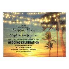 beach wedding invitations - sunset and string lights wedding invitation for beach and destination weddings, wedding reception, wedding celebration