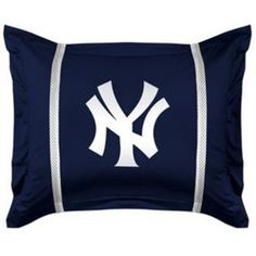 MLB New York Yankees Sidelines Pillow Sham featuring polyvore home bed & bath bedding bed accessories home textiles blue bedding white shams blue white bedding blue pillow shams white bedding