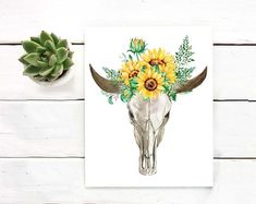 Printable Art by SouthPacific on Etsy Bull Skulls, Cow Skull, Watercolor Sunflower, Watercolor Flowers, Art File, Digital Collage, Collage Sheet, Art Blog, Wall Art
