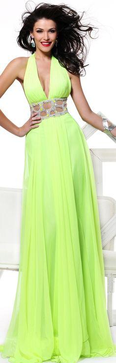 Tarik Ediz Halter Neon Embellished Gown  #Chartreuse