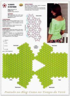 pretty crochet top - going to make it ! Crochet Bolero, Crochet Motifs, Crochet Shirt, Crochet Diagram, Thread Crochet, Filet Crochet, Crochet Lace, Crochet Stitches, Crochet Patterns